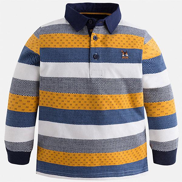 Футболка-поло с длинным рукавом для мальчика MayoralФутболки с длинным рукавом<br>Характеристики товара:<br><br>• цвет: оранжевый<br>• состав ткани: 100% хлопок<br>• сезон: демисезон<br>• особенности модели: отложной воротник<br>• застежка: пуговицы<br>• длинные рукава<br>• страна бренда: Испания<br>• страна изготовитель: Индия<br><br>Полосатая детская футболка-поло с длинным рукавом сделана из дышащего приятного на ощупь материала. Благодаря продуманному крою детской футболки-поло создаются комфортные условия для тела. Футболка-поло с длинным рукавом для мальчика отличается стильным продуманным дизайном.<br><br>Футболку-поло с длинным рукавом для мальчика Mayoral (Майорал) можно купить в нашем интернет-магазине.<br>Ширина мм: 230; Глубина мм: 40; Высота мм: 220; Вес г: 250; Цвет: оранжевый; Возраст от месяцев: 18; Возраст до месяцев: 24; Пол: Мужской; Возраст: Детский; Размер: 92,134,128,122,116,110,104,98; SKU: 6936043;