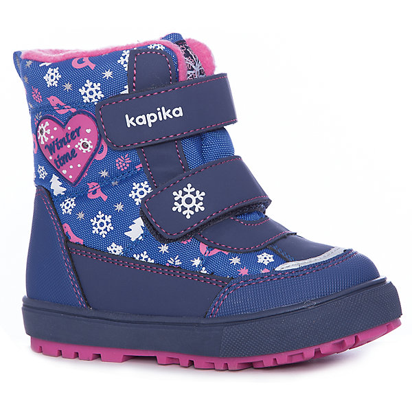 Ботинки Kapika для девочкиБотинки<br>Характеристики товара:<br><br>• цвет: синий<br>• внешний материал: текстиль, искусственная кожа<br>• внутренний материал: шерсть, текстиль<br>• стелька: шерсть, фольга<br>• подошва: ТЭП<br>• сезон: зима<br>• мембранные<br>• температурный режим: от -25 до 0<br>• защита мыса<br>• застежка: липучки<br>• подошва не скользит <br>• анатомические <br>• высокие<br>• страна бренда: Россия<br>• страна изготовитель: Китай<br><br>Теплые высокие ботинки для девочки Kapika сделаны из прочного материала. Детские мембранные ботинки имеют усиленный мыс и устойчивую подошву.<br><br>Модель поможет обеспечить ногам тепло и комфорт даже в сильные морозы. Обувь для детей Капика - это качественные и удобные товары.<br><br>Ботинки для девочки Kapika (Капика) можно купить в нашем интернет-магазине.<br>Ширина мм: 262; Глубина мм: 176; Высота мм: 97; Вес г: 427; Цвет: голубой; Возраст от месяцев: 24; Возраст до месяцев: 24; Пол: Женский; Возраст: Детский; Размер: 25,24,23,27,26; SKU: 6936577;