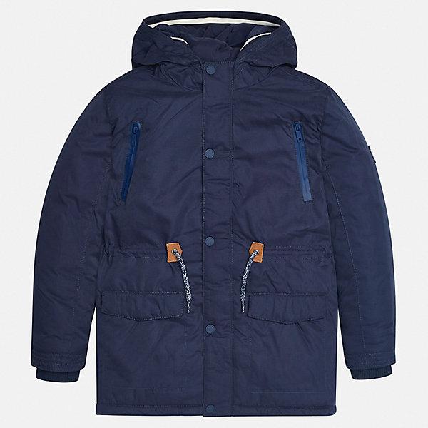 Куртка для мальчика MayoralВерхняя одежда<br>Характеристики товара:<br><br>• цвет: темно-синий;<br>• сезон: демисезон;<br>• температурный режим: от 0 до +10С;<br>• состав ткани: 100% полиэстер;<br>• состав подкладки: 100% полиэстер;<br>• на молнии и на кнопках;<br>• фасон: парка;<br>• регулируемая талия на шнурке;<br>• капюшон:   не отстегивается, без меха;<br>• страна бренда: Испания;<br>• страна изготовитель: Китай.<br><br>Утепленная демисезонная куртка для мальчика от популярного бренда Mayoral,  модный фасон - парка  несомненно понравится вам и вашему ребенку. Качественные ткани, безупречное исполнение, все модели в центре модных тенденций. <br><br>Удлиненная модель синего цвета выполнена из мягкой плащевой ткани и внутреннего утеплителя, обеспечивающие хорошую воздухопроницаемую защиту и тепло,  рукава и пояс на внутренних элестичных манжетах. Застегивается на молнию и на кнопки, для большего комфорта талия регулируется утяжкой на шнурке. Капюшон  не отстегивается,  верхние передние карманы на молнии и нижние передние карманы на кнопках. Декорирована контрастной оконтовко и нашивкой-логотипом на рукаве.<br><br>Легкая и теплая куртка-парка с капюшоном и карманами на холодную осень-весну. Грамотный крой изделия обеспечивает отличную посадку по фигуре. Все эти преимущества делают данную модель незаменимой для активных прогулок и повседневной носки.<br><br>Утепленную демисезонную куртку-парку  для мальчика Mayoral (Майорал) можно купить в нашем интернет-магазине.<br>Ширина мм: 356; Глубина мм: 10; Высота мм: 245; Вес г: 519; Цвет: темно-синий; Возраст от месяцев: 156; Возраст до месяцев: 168; Пол: Мужской; Возраст: Детский; Размер: 164,128/134,170,158,152,140; SKU: 6938817;