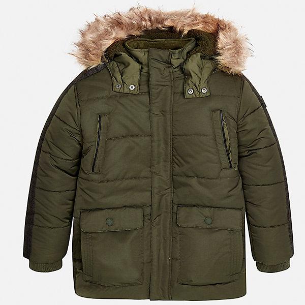 Куртка Mayoral для мальчикаВерхняя одежда<br>Характеристики товара:<br><br>• цвет: зеленый;<br>• сезон: демисезон;<br>• температурный режим: от 0 до -10С;<br>• состав ткани: 100% полиэстер;<br>• состав подкладки: 100% полиэстер;<br>• на молнии и на кнопках;<br>• фасон: парка;<br>• капюшон:   отстегивается, с мехом;<br>• страна бренда: Испания;<br>• страна изготовитель: Китай.<br><br>Утепленная демисезонная куртка для мальчика от популярного бренда Mayoral,  модный фасон - парка  несомненно понравится вам и вашему ребенку. Качественные ткани, безупречное исполнение, все модели в центре модных тенденций. <br><br>Удлиненная модель зеленого цвета выполненаиз качественной ткани и внутреннего утеплителя, обеспечивающие хорошую воздухопроницаемую защиту и тепло,  рукава на элестичных манжетах. Застегивается на молнию и на кнопки, капюшон отстегивается, украшен искусственной опушкой, кодкладка капюшона утеплена плюшем.   Верхние передние карманы на молнии и нижние передние карманы на кнопках. Декорирована стильными вставками на рукавах.<br><br>Легкая и теплая куртка-парка с капюшоном и карманами на холодную осень - теплую зиму. Грамотный крой изделия обеспечивает отличную посадку по фигуре. <br><br>Утепленная демисезонная куртка для мальчика Mayoral (Майорал) можно купить в нашем интернет-магазине.<br>Ширина мм: 356; Глубина мм: 10; Высота мм: 245; Вес г: 519; Цвет: зеленый; Возраст от месяцев: 96; Возраст до месяцев: 108; Пол: Мужской; Возраст: Детский; Размер: 128/134,170,164,158,152,140; SKU: 6938893;