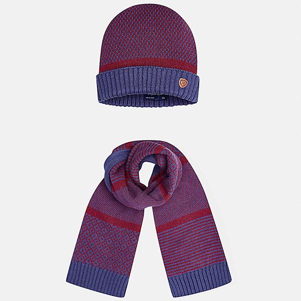 Комплект: шапка и шарф для мальчика MayoralГоловные уборы<br>Характеристики товара:<br><br>• цвет: красный/синий<br>• состав ткани: 60% хлопок, 30% полиамид, 10% шерсть<br>• сезон: демисезон<br>• комплектация: шапка, шарф<br>• страна бренда: Испания<br>• страна изготовитель: Индия<br><br>Этот стильный набор из шапки и шарфа поможет обеспечить ребенку тепло и комфорт. Детский демисезонный комплект от бренда Майорал смотрится модно и оригинально. Шапка и шарф от испанской компании Mayoral отличаются оригинальным и стильным дизайном. Качество продукции неизменно очень высокое.<br><br>Комплект: шапка и шарф для мальчика Mayoral (Майорал) можно купить в нашем интернет-магазине.<br>Ширина мм: 89; Глубина мм: 117; Высота мм: 44; Вес г: 155; Цвет: синий/красный; Возраст от месяцев: 12; Возраст до месяцев: 18; Пол: Мужской; Возраст: Детский; Размер: one size; SKU: 6939066;