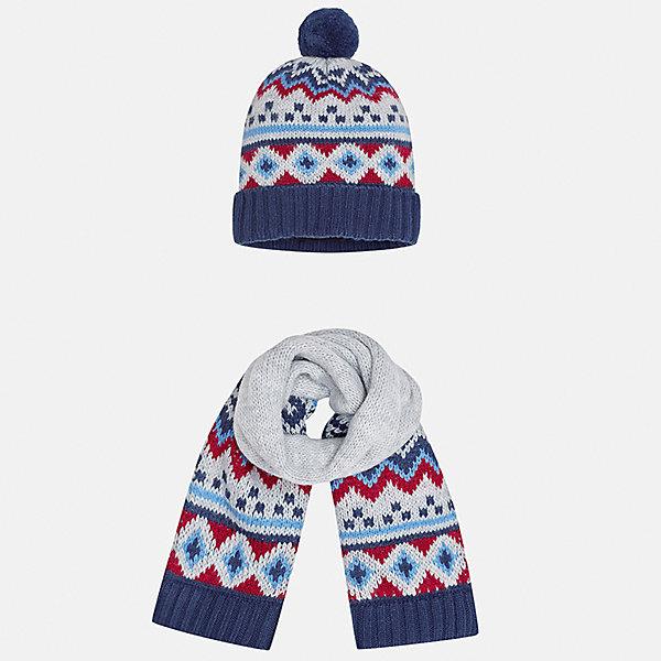 Комплект: шапка и шарф Mayoral для мальчикаШарфы, платки<br>Характеристики товара:<br><br>• цвет: сине-серый<br>• состав ткани: 85% акрил, 15% шерсть<br>• сезон: демисезон<br>• комплектация: шапка, шарф<br>• страна бренда: Испания<br>• страна изготовитель: Индия<br><br>Модный комплект - вязаные шапка и шарф для мальчика от популярного бренда Mayoral - отличается декором в виде вязаного узора. Детский демисезонный набор смотрится аккуратно и стильно. В детской демисезонной одежде от испанской компании Майорал ребенок будет выглядеть модно, а чувствовать себя - комфортно. Целая команда европейских талантливых дизайнеров работала над созданием этой шапки и шарфа для ребенка. <br><br>Комплект: шапка и шарф для мальчика Mayoral (Майорал) можно купить в нашем интернет-магазине.<br>Ширина мм: 89; Глубина мм: 117; Высота мм: 44; Вес г: 155; Цвет: сине-серый; Возраст от месяцев: 12; Возраст до месяцев: 18; Пол: Мужской; Возраст: Детский; Размер: one size; SKU: 6939070;