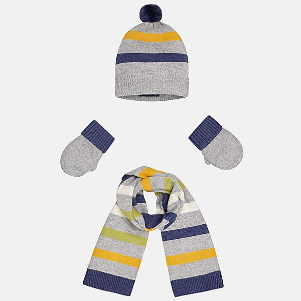 Комплект: шапка, шарф и варежки для мальчика MayoralКомплекты<br>Характеристики товара:<br><br>• цвет: серый<br>• состав ткани: 39% акрил, 26% вискоза, 26% полиамид, 9% ангора<br>• сезон: демисезон<br>• комплектация: шапка, шарф, варежки<br>• страна бренда: Испания<br>• страна изготовитель: Индия<br><br>Этот демисезонный детский набор смотрится аккуратно и стильно. Симпатичные шапка, шарф и варежки для мальчика от популярного бренда Mayoral отличаются вязаным узором. Детские шапка, шарф и варежки отлично сочетаются между собой.<br><br>Комплект: шапка, шарф и варежки для мальчика Mayoral (Майорал) можно купить в нашем интернет-магазине.<br>Ширина мм: 89; Глубина мм: 117; Высота мм: 44; Вес г: 155; Цвет: серый; Возраст от месяцев: 12; Возраст до месяцев: 18; Пол: Мужской; Возраст: Детский; Размер: one size; SKU: 6939076;