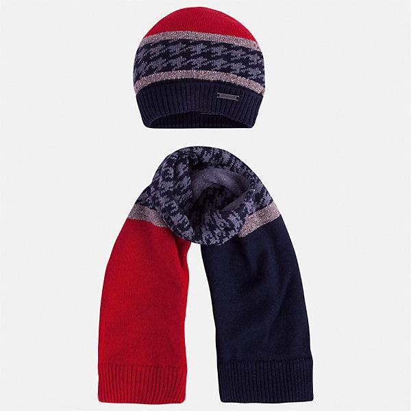 Комплект: шапка и шарф Mayoral для мальчикаШарфы, платки<br>Характеристики товара:<br><br>• цвет: синий/красный<br>• состав ткани: 60% хлопок, 30% полиамид, 10% шерсть<br>• сезон: демисезон<br>• комплектация: шапка, шарф<br>• страна бренда: Испания<br>• страна изготовитель: Индия<br><br>Детский комплект из шарфа и шапки смотрится аккуратно и стильно. Демисезонные шапка и шарф для мальчика от популярного бренда Mayoral помогут дополнить наряд и обеспечить комфорт в прохладную погоду. Для производства таких демисезонных комплектов популярный бренд Mayoral используют только качественную фурнитуру и материалы. Оригинальные и модные шапка и шарф от Майорал привлекут внимание и понравятся детям.<br><br>Комплект: шапка и шарф для мальчика Mayoral (Майорал) можно купить в нашем интернет-магазине.<br>Ширина мм: 89; Глубина мм: 117; Высота мм: 44; Вес г: 155; Цвет: синий/красный; Возраст от месяцев: 24; Возраст до месяцев: 36; Пол: Мужской; Возраст: Детский; Размер: 50,56,54,52; SKU: 6939240;