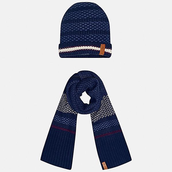 Комплект: шапка и шарф Mayoral для мальчикаШарфы, платки<br>Характеристики товара:<br><br>• цвет: темно-синий<br>• состав ткани: 100% акрил<br>• сезон: демисезон<br>• комплектация: шапка, шарф<br>• страна бренда: Испания<br>• страна изготовитель: Индия<br><br>Этот стильный набор из шапки и шарфа поможет обеспечить ребенку тепло и комфорт. Детский демисезонный комплект от бренда Майорал смотрится модно и оригинально. Шапка и шарф от испанской компании Mayoral отличаются оригинальным и стильным дизайном. Качество продукции неизменно очень высокое.<br><br>Комплект: шапка и шарф для мальчика Mayoral (Майорал) можно купить в нашем интернет-магазине.<br>Ширина мм: 89; Глубина мм: 117; Высота мм: 44; Вес г: 155; Цвет: темно-синий; Возраст от месяцев: 48; Возраст до месяцев: 60; Пол: Мужской; Возраст: Детский; Размер: 52,56,54; SKU: 6939362;