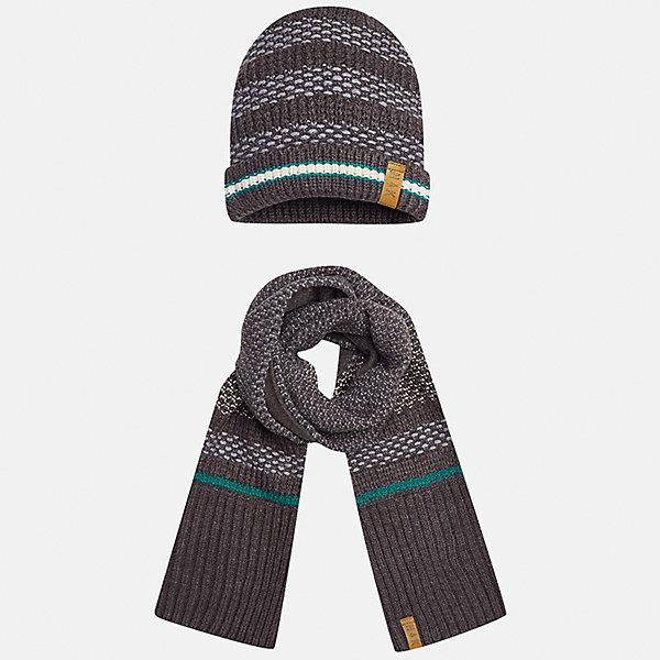 Комплект: шапка и шарф Mayoral для мальчикаШарфы, платки<br>Характеристики товара:<br><br>• цвет: коричневый<br>• состав ткани: 100% акрил<br>• сезон: демисезон<br>• комплектация: шапка, шарф<br>• страна бренда: Испания<br>• страна изготовитель: Индия<br><br>Оригинальный детский комплект из шарфа и шапки смотрится аккуратно и стильно. Демисезонные шапка и шарф для мальчика от популярного бренда Mayoral помогут дополнить наряд и обеспечить комфорт в прохладную погоду. Для производства таких демисезонных комплектов популярный бренд Mayoral используют только качественную фурнитуру и материалы. Оригинальные и модные шапка и шарф от Майорал привлекут внимание и понравятся детям.<br><br>Комплект: шапка и шарф для мальчика Mayoral (Майорал) можно купить в нашем интернет-магазине.<br>Ширина мм: 89; Глубина мм: 117; Высота мм: 44; Вес г: 155; Цвет: коричневый; Возраст от месяцев: 48; Возраст до месяцев: 60; Пол: Мужской; Возраст: Детский; Размер: 52,54,56; SKU: 6939366;