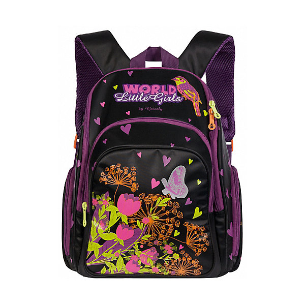 Рюкзак школьный Grizzly, чёрныйРюкзаки<br>Характеристики:<br><br>• возраст от: 6 лет;<br>• школьный рюкзак;<br>• жесткая анатомическая спинка;<br>• дополнительная ручка-петля;<br>• укрепленные лямки;<br>• откидное жесткое дно;<br>• тип застежки: молния;<br>• светоотражающих элементы;<br>• вмещает формат А4;<br>• материал: полиэстер принтованный;<br>• размер рюкзака: 30х36х20 см;<br>• вес: 980 г.<br><br>Школьный рюкзак имеет два отделения с разделительной перегородкой-органайзером, объемный карман на молнии на передней стенке, объемные боковые карманы на молнии, внутренний карман на молнии. Рюкзак оформлен в розовом цвете, декорирован цветочным принтом - бабочка порхает в ярких цветах.<br><br>Рюкзак школьный Grizzly черный можно купить в нашем интернет-магазине.<br>Ширина мм: 300; Глубина мм: 200; Высота мм: 360; Вес г: 980; Возраст от месяцев: 72; Возраст до месяцев: 2147483647; Пол: Женский; Возраст: Детский; SKU: 6939846;