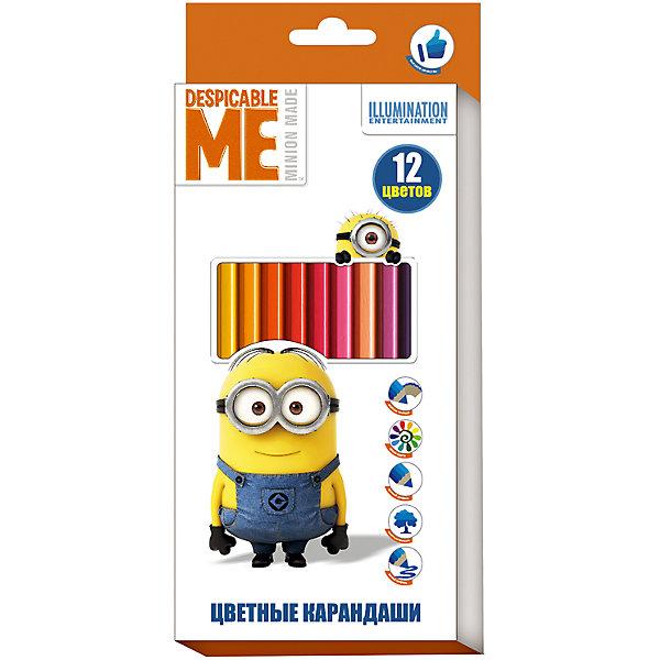 Цветные карандаши, 12 цветов, МиньоныМиньоны<br>Характеристики:<br><br>• возраст: от 3 лет<br>• в наборе: 12 разноцветных карандашей<br>• материал корпуса: древесина<br>• упаковка: картонная коробка с европодвесом<br>• размер упаковки: 9х20х0,8 см.<br>• срок годности не ограничен<br><br>Яркие карандаши «Миньоны» помогут маленькому художнику создавать красивые картинки, а любимые герои вдохновят малыша на новые интересные идеи. <br><br>В набор входит 12 цветных мягких и одновременно прочных карандашей, идеально подходящих для рисования, письма и раскрашивания. Яркие линии получаются без сильного нажима. Благодаря высококачественной древесине, карандаши легко затачиваются. Прочный грифель не крошится при падении и не ломается при заточке.<br><br>Цветные карандаши, 12 цветов, Миньоны можно купить в нашем интернет-магазине.<br>Ширина мм: 90; Глубина мм: 8; Высота мм: 202; Вес г: 83; Возраст от месяцев: 36; Возраст до месяцев: 2147483647; Пол: Унисекс; Возраст: Детский; SKU: 6963161;