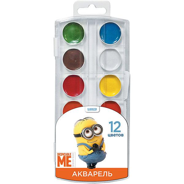 Акварель, 12 цветов, МиньоныМиньоны<br>Характеристики:<br><br>• количество цветов: 12<br>• цвета: белый, желтый, оранжевый, красный, розовый, голубой, синий, светло-зеленый, темно-зеленый, светло-коричневый, коричневый, черный<br>• состав: вода питьевая, декстрин, глицерин, сахар, органические и неорганические тонкодисперсные пигменты, консервант, наполнитель<br>• упаковка: пластмассовый пенал с прозрачной крышкой<br>• размер упаковки: 8,5х19,7х1,2 см.<br>• вес: 70 гр.<br>• товар сертифицирован<br>• срок годности не ограничен<br><br>В наборе акварельных красок «Миньоны» 12 насыщенных цветов, которые помогут ребенку создать множество ярких картинок. Краски идеально подходят для рисования: они хорошо размываются водой, легко наносятся на поверхность, быстро сохнут, безопасны при использовании по назначению.<br><br>Акварель, 12 цветов, Миньоны можно купить в нашем интернет-магазине.<br>Ширина мм: 83; Глубина мм: 10; Высота мм: 195; Вес г: 70; Возраст от месяцев: 36; Возраст до месяцев: 2147483647; Пол: Унисекс; Возраст: Детский; SKU: 6963166;