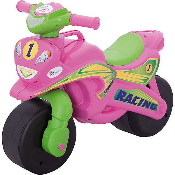 """Каталка-байк музыкальный """"Sport"""", розово-зеленый, DoloniМотоциклы<br>Характеристики товара:<br><br>• возраст: от 3 лет;<br>• максимальная нагрузка: 40 кг;<br>• материал: пластик;<br>• высота до сидения: 32 см;<br>• тип батареек: 2 батарейки АА;<br>• наличие батареек: в комплекте;<br>• размер упаковки: 70х35х50 см;<br>• вес упаковки: 2,9 кг;<br>• страна производитель: Украина.<br><br>Каталка-байк Sport Doloni розово-зеленая выполнена в виде мотоцикла на колесах и с рулем. Каталка позволит детям весело и активно провести время на прогулке. Сидя на ней, ребенок отталкивается ножками от земли и едет вперед, что способствует физическому развитию, учит держать равновесие.<br><br>На руле расположены кнопки для активации звуковых и световых эффектов. При нажатии кнопок загорается фара, раздаются звук мотора мотоцикла и сирены полицейской машины. Прорезиненные колеса обеспечивают бесшумное катание. Для мамы предусмотрена удобная ручка для переноски каталки.<br><br>Игрушка выполнена из качественного безопасного пластика. На ней отсутствуют острые углы, которые могут поранить ребенка.<br><br>Каталку-байк Sport Doloni розово-зеленую можно приобрести в нашем интернет-магазине.<br>Ширина мм: 700; Глубина мм: 350; Высота мм: 500; Вес г: 2900; Возраст от месяцев: 36; Возраст до месяцев: 2147483647; Пол: Унисекс; Возраст: Детский; SKU: 6963498;"""