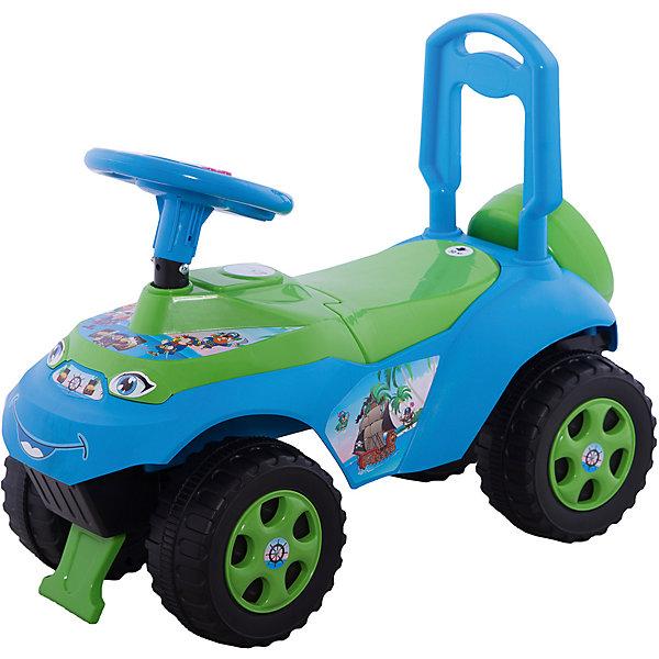 """Машинка-каталка Автошка"""" с музыкальным рулем, голубо-зеленая, DoloniКаталки для малышей<br>Характеристики товара:<br><br>• возраст: от 3 лет;<br>• максимальная нагрузка: 35 кг;<br>• материал: пластик;<br>• высота до сидения: 25 см;<br>• размер упаковки: 61х49х40 см;<br>• вес упаковки: 2,5 кг;<br>• страна производитель: Украина.<br><br>Каталка-толокар «Автошка» Doloni зелено-голубая позволит детям весело и активно провести время на прогулке. Сидя на ней, ребенок отталкивается ножками от земли и едет вперед, что способствует физическому развитию, учит держать равновесие. Кроме этого, на ней имеется ручка-толокар, держась за которую дети помладше могут учиться самостоятельно ходить.<br><br>Игрушка научит детей правилам дорожного движения. На руле расположены кнопки, при нажатии на которые, малыш услышит разнообразные фразы о правилах дорожного движения. Такие так «Красный цвет — стоим и ждем» и другие. Под сидением расположен отсек для вещей и игрушек. Блокиратор не позволит каталке опрокинуться, если ребенок наклонился вперед или назад. Каталка выполнена из качественного безопасного пластика. На ней отсутствуют острые углы, которые могут поранить ребенка.<br><br>Каталку-толокар «Автошка» Doloni зелено-голубую можно приобрести в нашем интернет-магазине.<br>Ширина мм: 610; Глубина мм: 300; Высота мм: 490; Вес г: 2500; Возраст от месяцев: 36; Возраст до месяцев: 2147483647; Пол: Унисекс; Возраст: Детский; SKU: 6963501;"""