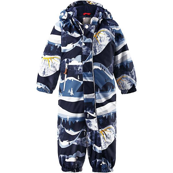 Комбинезон Reimatec® Reima Puhuri для мальчикаВерхняя одежда<br>Характеристики товара:<br><br>• цвет: синий принт<br>• состав: 100% полиэстер<br>• утеплитель: 160 г/м2 (soft loft insulation)<br>• сезон: зима<br>• температурный режим: от 0 до -20С<br>• водонепроницаемость: 8000 мм<br>• воздухопроницаемость: 10000 мм<br>• износостойкость: 30000 циклов (тест Мартиндейла)<br>• особенности модели: с рисунком<br>• основные швы проклеены и не пропускают влагу<br>• водо- и ветронепроницаемый, дышащий и грязеотталкивающий материал<br>• утепленная задняя часть изделия<br>• гладкая подкладка из полиэстера<br>• безопасный, съемный капюшон<br>• защита подбородка от защемления<br>• эластичные манжеты и штанины<br>• внутренняя регулировка обхвата талии<br>• съемные эластичные штрипки<br>• длинная молния для легкого надевания<br>• карман на молнии<br>• светоотражающие детали<br>• страна бренда: Финляндия<br>• страна изготовитель: Китай<br><br>Параметры изделия:<br>• Длина внутреннего шва рукава: 24 см<br>• Длина внешнего шва рукава: 33 см<br>• Ширина от плеча до плеча: 33 см<br>• Ширина спинки от подмышки до подмышки: 36 см<br>• Длина внутреннего шва брюк: 26 см<br>• Длина внешнего шва брюк: 43 см<br>• Обхват талии: 33 см<br>• Ширина брючины внизу: 17 см<br>• Обхват груди : 72 см<br><br>Зимний комбинезон на молнии для малышей! Основные швы комбинезона проклеены, а сам он изготовлен из водо и ветронепроницаемого, грязеотталкивающего материала. Утепленная задняя часть обеспечит дополнительное утепление во время игр в снегу.<br><br>Гладкая подкладка и длинная молния облегчают надевание, а талия в комбинезоне регулируется. Маленький карман на молнии надежно сохранит все сокровища. Зимний комбинезон с капюшоном для мальчика декорирован рисунком с мячиками.<br><br>Комбинезон Puhuri Reimatec® Reima от финского бренда Reima (Рейма) можно купить в нашем интернет-магазине.