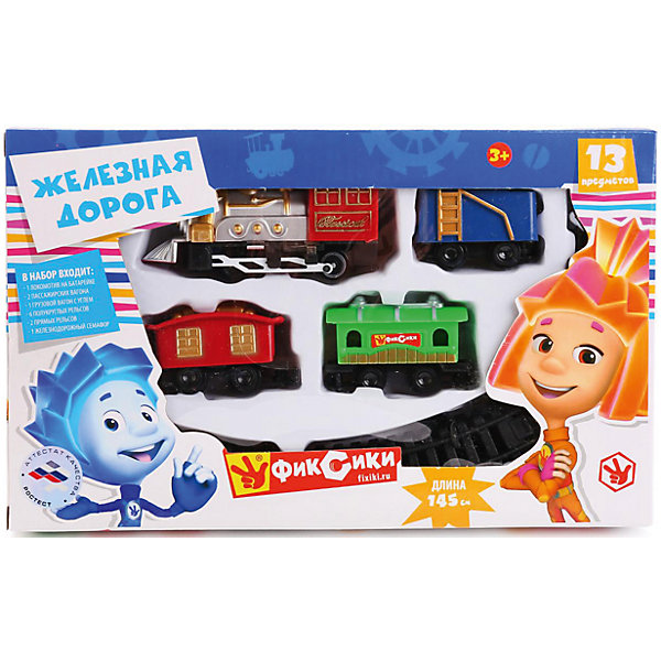 Железная дорога Фиксики, 145 см, Играем вместеПопулярные игрушки<br>Характеристики товара:<br><br>• в комплекте: детали для железной дороги, локомотив, 3 вагона, семафор;<br>• длина рельсов: 145 см;<br>• батарейки: не входят в комплект;<br>• материал: пластик, металл;<br>• размер упаковки: 26х4х16 см;<br>• вес: 230 грамм;<br>• возраст: от 3 лет.<br><br>В набор от компании «Играем вместе» входят детали ля постройки железной дороги в форме круга, локомотив, 3 вагона и семафор. Вагоны выполнены в разных цветах в стиле известных Фиксиков. Длина рельсового полотна составляет 145 сантиметров. <br><br>Железная дорога работает от батареек. Пока поезд будет двигаться по кругу, юный железнодорожник сможет имитировать регулировку движения с помощью семафора.<br><br>Железную дорогу Фиксики, 145 см, Играем вместе можно купить в нашем интернет-магазине.<br>Ширина мм: 26; Глубина мм: 4; Высота мм: 16; Вес г: 230; Возраст от месяцев: 36; Возраст до месяцев: 60; Пол: Унисекс; Возраст: Детский; SKU: 6970768;