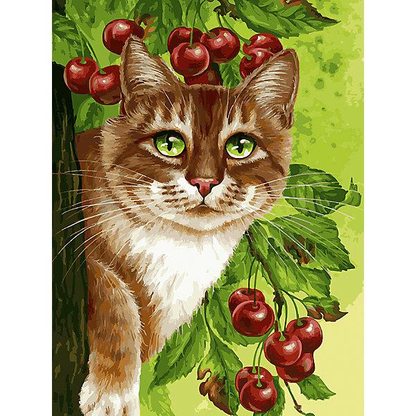 Купить Живопись на картоне 30х40см Кот на вишнёвом дереве Белоснежка, Китай, Унисекс