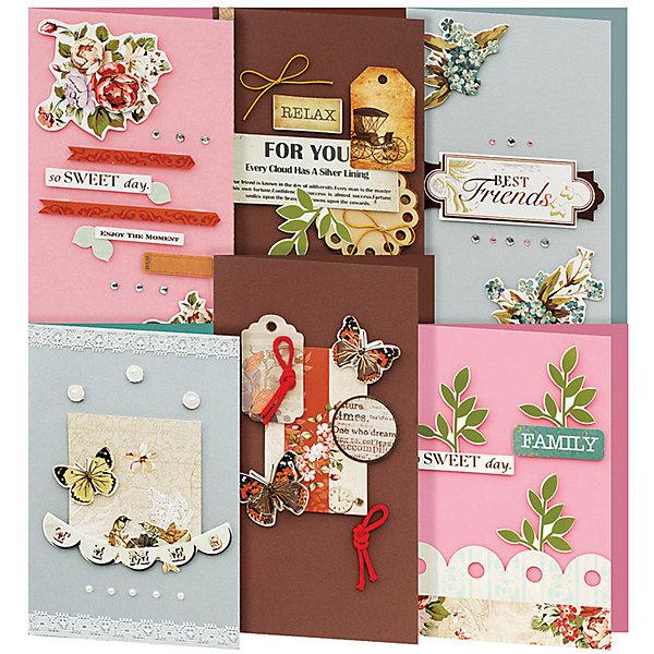 Набор для создания 6-ти открыток Танго БелоснежкаТовары для скрапбукинга<br>Характеристики товара:<br><br>• возраст: от 6 лет;<br>• упаковка: прозрачный пакет с хедером;<br>• размер упаковки: 27х15х6 см..;<br>• материал: плотный картон, бумага для скрапбукинга, пластик, текстиль;<br>• размер открытки: 11,5х17 см. и 11,5х21 см.;<br>• вес: 150 гр.;<br>• бренд: Белоснежка;<br>• страна бренда: Россия;<br>• страна производства: Китай.<br>                                                                                                                                                                                                                                                                                                                       Набор для создания 6-ти открыток «Танго» дополнен оригинальными карточками в стиле Шебби-Шик, необходимо только вырезать заготовки из макета и закрепить на открытке. Красивые элементы помогут сделать открытки более яркими и разнообразными. При их создании можно воспользоваться подсказками, расположенными на упаковке или придумать свою композицию.<br><br>Скрапбукинг стал популярным и модным увлечением во всём мире, которое помогает развививать у вас и вашего ребенка  мышление, моторику и фантазию, тренирует память, расширяет восприятие цветов и различных оттенков, пространственное мышление. Процесс создания открыток раскроет ваш  творческий потенциал,  а сама открытка будет неповторимым подарком для друзей и близких.          <br><br>Комплектация:<br><br>• 3 заготовки для открыток 11,5х17 см.;<br>• 3 заготовки для открыток 11,5х21 см.;<br>• 6 конвертов;<br>• клеевые подушечки;<br>• декоративные элементы: вырубка из картона, ленты, паетки, стразы, полубусины.       <br><br>Набор для создания 6-ти открыток «Танго», Белоснежка  можно купить в нашем интернет-магазине.<br>Ширина мм: 270; Глубина мм: 150; Высота мм: 60; Вес г: 150; Возраст от месяцев: 72; Возраст до месяцев: 2147483647; Пол: Унисекс; Возраст: Детский; SKU: 6997996;