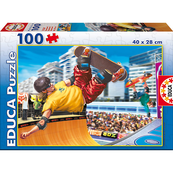 Пазл Скейтбординг, 100 деталей, EducaПазлы для малышей<br>Характеристики товара:<br><br>• возраст: от 6 лет;<br>• количество деталей: 100;<br>• размер собранной картины: 40х28 см.;<br>• наличие клея: в комплекте;<br>• материал: картон;<br>• упаковка: картонная каробка;<br>• вес: 365 гр.;<br>• бренд, страна бренда: Educa (Эдука), Испания;<br>• страна-производитель: Испания.<br>                                                                                                                                                                                                                                                                                                                       <br>Пазл «Скейтбординг», состоящий из 100 элементов, придется по душе всей вашей семье, ведь собрав этот пазл, вы получите оригинальную яркую картинку. Пазл выполнен из высококачественных материалов, что обеспечивает идеальное прилегание элементов друг к другу.<br><br>Собирание пазлов это не только интересно, но и полезно: ведь в процессе создания картинки развивается мелкая моторика, тренируются наблюдательность и логическое мышление.<br><br>Испанская компания Educa Borras, SA выпускает пазлы различной сложности и имеет уникальный сервис: бесплатную доставку в любую точку мира потерянной детали.<br><br>Пазл «Скейтбординг», 100 деталей,  Educa (Эдука) можно купить в нашем интернет-магазине.<br>Ширина мм: 215; Глубина мм: 45; Высота мм: 315; Вес г: 360; Возраст от месяцев: 36; Возраст до месяцев: 144; Пол: Мужской; Возраст: Детский; SKU: 6999022;