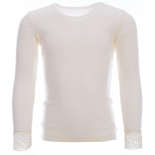 Футболка с длинным рукавом Janus для девочкиФлис и термобелье<br>Характеристики товара:<br><br>• цвет: белый<br>• состав ткани: 100% шерсть мериноса<br>• подкладка: нет<br>• сезон: зима<br>• длинные рукава<br>• страна бренда: Норвегия<br>• страна изготовитель: Норвегия<br><br>Удобная термофутболка украшена кружевом на рукавах. Качественная натуральная шерсть мериноса приятна на ощупь не вызывает аллергии. Материал футболки для детей позволяет коже дышать и впитывает лишнюю влагу. Шерсть мериноса делает футболки для ребенка очень комфортными. <br><br>Футболку с длинным рукавом Janus (Янус) для девочки можно купить в нашем интернет-магазине.<br>Ширина мм: 199; Глубина мм: 10; Высота мм: 161; Вес г: 151; Цвет: белый; Возраст от месяцев: 36; Возраст до месяцев: 48; Пол: Женский; Возраст: Детский; Размер: 100,90,170,160,150,140,130,120,110; SKU: 7001478;