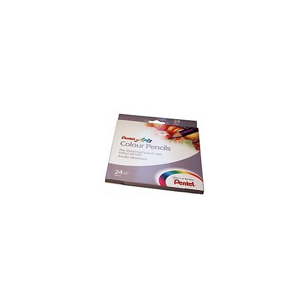 Цветные карандаши 24 цвета Colour pencils PentelКарандаши<br>Характеристики:<br><br>• возраст: от 6 лет<br>• количество цветов: 24<br>• материал корпуса: древесина<br>• длина: 17,5 см.<br>• упаковка: картонная коробка с внутренним выдвижным карманом<br>• размер упаковки: 22х19х1 см.<br><br>Корпус карандашей «Color Pencils» выполнен из древесины мягких сортов, покрыт лаком на водной основе. Для изготовления цветных грифелей использованы современные и безопасные полимеры, благодаря которым, грифели не крошится при рисовании, не ломаются при затачивании или случайном падении.<br><br>Высокое качество карандашей открывает широкие горизонты для экспериментов: вы можете их использовать в сочетании с акварелью и масляной пастелью, чтобы добиться более глубокого и оригинального эффекта в своих работах. Карандаши подходят для рисования на практически всех видах бумаги, натуральных тканях и даже дереве.<br><br>Карандаши упакованы в яркую картонную коробку с внутренним выдвижным карманом, разделены картонными перегородками, благодаря чему убирать и доставать карандаши намного проще.<br><br>Карандаши «Color Pencils» устойчивы к вредному воздействию воды и выцветанию. Насыщенные и яркие цвета помогают стимулировать детское воображение, развивают моторику и восприятие мира цвета, а также любовь к изобразительному творчеству.<br><br>Цветные карандаши 24 цвета Colour pencils Pentel (Пентел) можно купить в нашем интернет-магазине.<br>Ширина мм: 190; Глубина мм: 10; Высота мм: 220; Вес г: 210; Возраст от месяцев: 72; Возраст до месяцев: 2147483647; Пол: Унисекс; Возраст: Детский; SKU: 7010466;