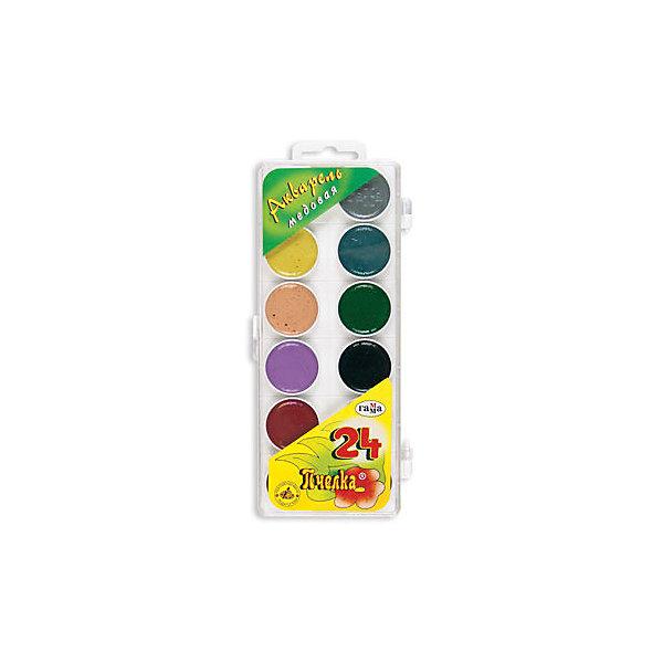 Акварель медовая ПЧЕЛКА 24 цветов ГаммаКраски<br>Характеристики:<br><br>• возраст: от 3 лет<br>• в наборе: краски акварельные медовые полусухие без кисточки<br>• количество цветов: 24<br>• упаковка: пластмассовый пенал с прозрачной крышкой<br>• размер упаковки: 20,3х8,7х1,6 см.<br>• вес: 150 гр.<br><br>Акварельные медовые краски «Пчелка» идеально подойдут для детского и художественного изобразительного искусства. Яркие, насыщенные цвета красок отлично смешиваются между собой.<br><br>Краски безопасны для детей, не токсичны, быстро высыхают и не портятся со временем.<br><br>Акварель медовую ПЧЕЛКА 24 цветов Гамма можно купить в нашем интернет-магазине.<br>Ширина мм: 225; Глубина мм: 90; Высота мм: 20; Вес г: 170; Возраст от месяцев: 36; Возраст до месяцев: 2147483647; Пол: Унисекс; Возраст: Детский; SKU: 7010472;