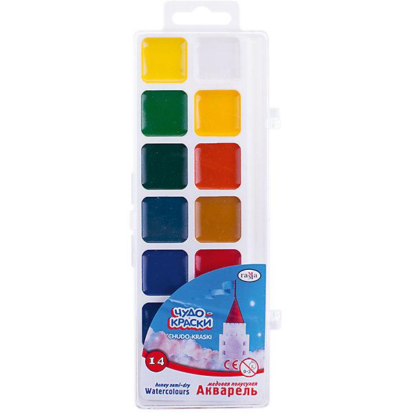 Акварель медовая ЧУДО-КРАСКИ 14 цветов ГаммаКраски<br>Характеристики:<br><br>• возраст: от 3 лет<br>• в наборе: краски акварельные медовые без кисточки<br>• количество цветов: 14<br>• объем краски одного цвета в кювете: 2,8 куб. см.<br>• упаковка: пластмассовая коробка с прозрачной крышкой<br>• размер упаковки: 21х7,7х1,3 см.<br>• вес: 94 гр.<br><br>Акварельные медовые краски «Чудо-краски» прекрасно подойдут для детского и художественного изобразительного творчества и будет способствовать развитию мелкой моторики, творческих способностей и сенсомоторной координации ребенка.<br><br>Краски созданы на водной основе, имеют яркие насыщенные цвета. Легко смываются с рук и одежды, безвредны.<br><br>Акварель медовую ЧУДО-КРАСКИ 14 цветов Гамма можно купить в нашем интернет-магазине.<br>Ширина мм: 210; Глубина мм: 80; Высота мм: 12; Вес г: 100; Возраст от месяцев: 36; Возраст до месяцев: 2147483647; Пол: Унисекс; Возраст: Детский; SKU: 7010474;
