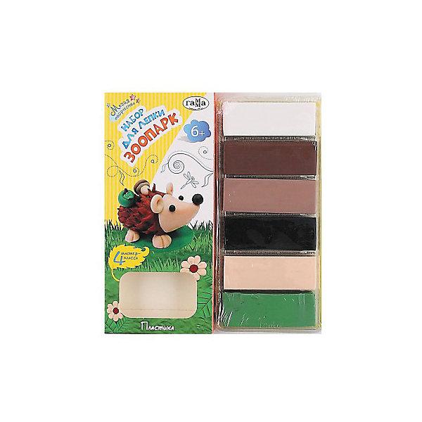 Набор для лепки Зоопарк ГаммаНаборы для лепки игровые<br>Характеристики:<br><br>• возраст: от 6 лет<br>• в наборе: 6 цветов модельной массы по 20 г., инструкция<br>• упаковка: картонная коробка с подвесом<br>• размер упаковки: 19х8х2 см.<br>• вес: 135 гр.<br><br>В набор для лепки «Зоопарк» входит модельная масса (пластика) шести цветов и пошаговая инструкция на русском языке. С помощью данного набора малыш сможет самостоятельно слепить ежика, сову, крокодила и панду.<br><br>Пластика или модельная масса, входящая в набор, предназначена для лепки и моделирования. После обжига в духовом шкафу игрушки из пластики становятся твердыми и прочными. Затвердевание массы происходит в течение 15-30 минут при температуре 120-130°C и слегка приоткрытой дверце.<br><br>Для более детального создания фигурок можно использовать подручные средства: зубочистки, пластиковые стеки или ножницы.<br><br>Набор для лепки Зоопарк Гамма можно купить в нашем интернет-магазине.<br>Ширина мм: 180; Глубина мм: 80; Высота мм: 20; Вес г: 135; Возраст от месяцев: 72; Возраст до месяцев: 2147483647; Пол: Унисекс; Возраст: Детский; SKU: 7010492;