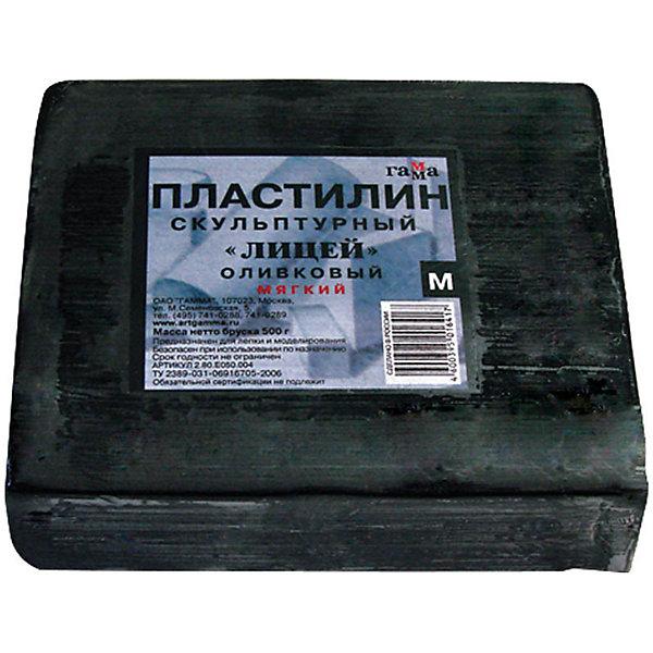ГАММА Пластилин скульптурный оливковый 0.5 кг, мягкий Гамма