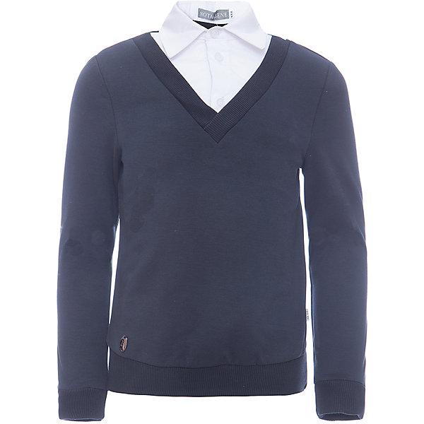 Джемпер Nota Bene для мальчикаСвитера и кардиганы<br>Характеристики товара:<br><br>• цвет: синий<br>• состав: 72% хлопок, 20% полиэстер, 8% лайкра<br>• сезон: демисезон<br>• особенности модели: школьная<br>• застежка: пуговицы<br>• длинные рукава<br>• декор: имитация рубашки<br>• страна бренда: Россия<br>• страна производства: Россия<br><br>Такой составной джемпер дополнен вставкой - имитацией рубашки. Трикотажный джемпер для ребенка соответствует школьному дресс-коду. Школьный джемпер комфортно сидит на теле благодаря преобладанию в составе материала натурального хлопка. <br><br>Джемпер Nota Bene (Нота Бене) для мальчика можно купить в нашем интернет-магазине.<br>Ширина мм: 190; Глубина мм: 74; Высота мм: 229; Вес г: 236; Цвет: серый; Возраст от месяцев: 72; Возраст до месяцев: 84; Пол: Мужской; Возраст: Детский; Размер: 122,164,158,152,146,140,134,128; SKU: 7011939;