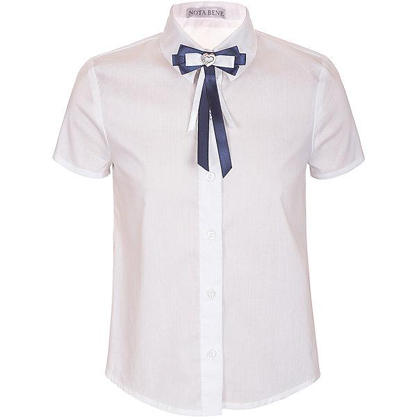 Блузка Nota Bene для девочкиБлузки и рубашки<br>Характеристики товара:<br><br>• цвет: белый<br>• состав: 60% хлопок, 37% полиэстер, 3% лайкра<br>• сезон: демисезон<br>• особенности модели: школьная<br>• застежка: пуговицы<br>• короткие рукава<br>• декор: бант на булавке<br>• страна бренда: Россия<br>• страна производства: Россия<br><br>Белая детская блузка с коротким рукавом выполнена в классической расцветке, декорирована бантом на булавке. Легкая блузка для ребенка соответствует школьному дресс-коду. Школьная блузка комфортно сидит на теле благодаря преобладанию в составе материала натурального хлопка. <br><br>Блузку Nota Bene (Нота Бене) для девочки можно купить в нашем интернет-магазине.<br>Ширина мм: 186; Глубина мм: 87; Высота мм: 198; Вес г: 197; Цвет: белый; Возраст от месяцев: 120; Возраст до месяцев: 132; Пол: Женский; Возраст: Детский; Размер: 146,122,164,158,152,140,134,128; SKU: 7012231;