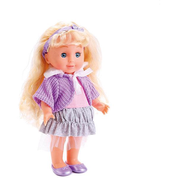 Кукла Карапуз Полина, озвученная, 25 смБренды кукол<br>Характеристики товара:<br><br>• высота куклы: 25 см;<br>• возраст: от 3 лет;<br>• материал: пластик, текстиль, металл;<br>• работает от батареек (в комплекте);<br>• размер упаковки: 8х16х29 см;<br>• страна бренда: Россия.<br><br>Маленькая кукла Полина очень напоминает настоящую малышку. Её улыбка очень красивая и добрая, а выразительные глазки вызывают неподдельное умиление. Полина одета в розово-серое платье, фиолетовый кардиган и сандалики в тон. Белокурые волосы куклы украшены фиолетовый повязкой с бантиком. Полина умеет рассказывать стихотворения Агнии Барто и петь добрую песенку. Высота куклы - 25 сантиметров.<br><br>Куклу Карапуз «Полина», озвученную, 25 см можно купить в нашем интернет-магазине.<br>Ширина мм: 280; Глубина мм: 70; Высота мм: 150; Вес г: 350; Возраст от месяцев: 36; Возраст до месяцев: 60; Пол: Женский; Возраст: Детский; SKU: 7014445;