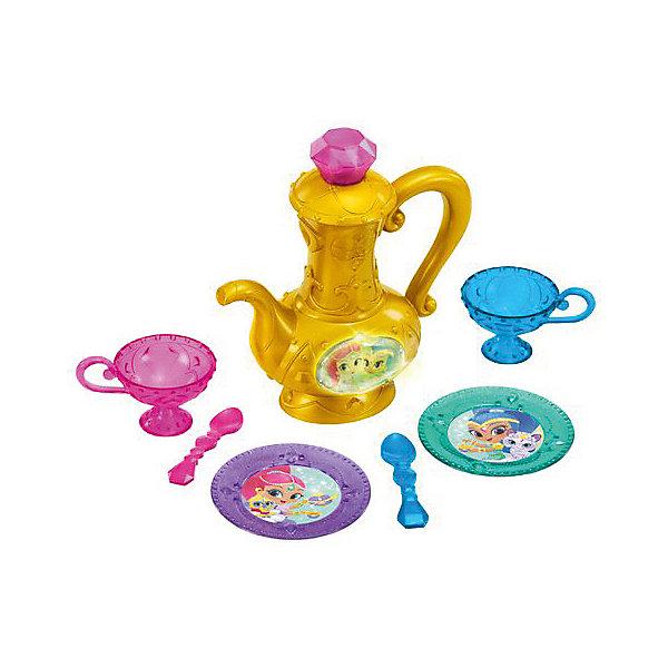 Игровой набор Fisher-Price Шиммер и Шайн Волшебное чаепитиеДетские кухни<br>Характеристики:<br><br>• тип игрушки: игровой набор;<br>• возраст: от 3 лет;<br>• размер: 25,5x8,5х38см;<br>• вес: 539 гр; <br>• комплектация:  говорящий чайник, 2 ложки, 2 чашки, 2 тарелочки;<br>• упаковка: картонная коробка;<br>• материал: пластик;<br>• бренд:  Mattel.<br><br>Игровой набор Fisher-Price Шиммер и Шайн «Волшебное чаепитие» разнообразит церемонию детского чаепития и сделает его незабываемым.Интерактивный чайный набор рассчитан на две персоны. Золотой чайник, работающий на батарейках, при наклоне будет говорить фразы и мигать. Яркая посуда и общение с джинном подарят хорошее настроение и приятную беседу за столом.<br><br>Кроме того, такой чайник можно использовать и в других играх. Девочка может представить себя надежным хранителем волшебного сосуда или арабской принцессой из сказки про Алладина. А вызванный джинн всегда выслушает и исполнит самые заветные желания.<br><br>Игровой набор Fisher-Price Шиммер и Шайн «Волшебное чаепитие» можно купить в нашем интернет-магазине.<br>Ширина мм: 255; Глубина мм: 85; Высота мм: 380; Вес г: 539; Возраст от месяцев: 36; Возраст до месяцев: 2147483647; Пол: Женский; Возраст: Детский; SKU: 7014811;