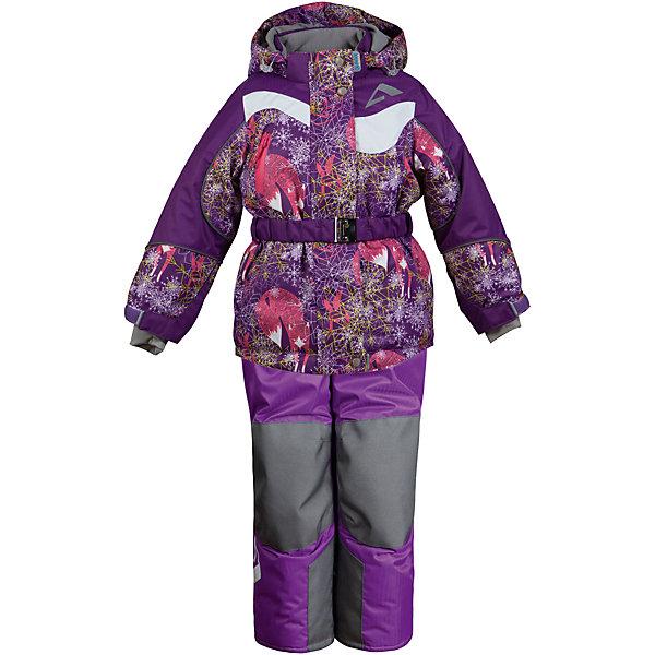 Комплект: куртка и полукомбинезон Алиса OLDOS ACTIVE для девочкиВерхняя одежда<br>Характеристики товара:<br><br>• цвет: фиолетовый<br>• комплектация: куртка и полукомбинезон<br>• состав ткани: полиэстер, Teflon<br>• подкладка: флис<br>• утеплитель: Hollofan pro<br>• сезон: зима<br>• мембранное покрытие<br>• температурный режим: от -30 до +5<br>• водонепроницаемость: 5000 мм <br>• паропроницаемость: 5000 г/м2<br>• плотность утеплителя: куртка - 200 г/м2, полукомбинезон - 150 г/м2<br>• застежка: молния<br>• капюшон: без меха, съемный<br>• полукомбинезон усилен износостойкими вставками<br>• страна бренда: Россия<br>• страна изготовитель: Россия<br><br>Детский зимний комплект Oldos Active создан с применением мембранной технологии. Модный комплект Oldos рассчитан даже на сильные морозы. Непромокаемый и непродуваемый верх комплекта для девочки создает комфортный для ребенка микроклимат. <br><br>Покрытие Teflon: защита от воды и грязи, износостойкость, за изделием легко ухаживать. Мембрана 5000/5000 обеспечивает водонепроницаемость, при этом одежда дышит. Гипоаллергенный утеплитель HOLLOFAN PRO 200/150 г/м2 - тоньше обычного, зато эффективнее удерживает тепло. <br><br>Подкладка флисовый (в рукавах и брючинах гладкий п/э для легкости одевания). Температурный режим (-30С...+5С). Костюм прекрасно защитит от ветра и снега благодаря воротнику-стойке, ветрозащитным планкам, снего-ветрозащитным муфтам и юбке; манжета регулируется по ширине. Дополнительно в рукавах есть эластичные манжеты с отверстием для большого пальца! <br><br>Низ куртки регулируется по ширине, эластичный пояс. Капюшон съемный с регулировкой объема. Карманы на молнии, есть внутренний кармашек на липучке. Полукомбинезон с застежкой на молнии, резинкой по талии, широкими эластичными регулируемыми подтяжками, карманами, усилениями в местах износа. Светоотражающие элементы.<br><br>Комплект: куртка и полукомбинезон Алиса Oldos (Олдос) для девочки можно купить в нашем интернет-магазине.