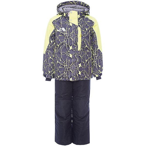 Комплект: куртка и полукомбинезон Нерон OLDOS для мальчикаВерхняя одежда<br>Характеристики товара:<br><br>• цвет: серый<br>• комплектация: куртка и полукомбинезон<br>• состав ткани: полиэстер, Teflon<br>• подкладка: флис<br>• утеплитель: Hollofan pro<br>• сезон: зима<br>• мембрана<br>• температурный режим: от -30 до +5<br>• водонепроницаемость: 5000 мм <br>• паропроницаемость: 5000 г/м2<br>• плотность утеплителя: куртка - 200 г/м2, полукомбинезон - 150 г/м2<br>• застежка: молния<br>• капюшон: без меха, съемный<br>• полукомбинезон усилен износостойкими вставками<br>• страна бренда: Россия<br>• страна изготовитель: Россия<br><br>Комбинированная подкладка зимнего комплекта - флис, в рукавах и брючинах – гладкий полиэстер. Детский комплект для мальчика дополнен элементами, помогающими скорректировать размер точно под ребенка. Манжеты на рукавах этого детского комплекта регулируются по ширине, есть эластичные манжеты с отверстием для большого пальца.<br><br>Внешнее покрытие TEFLON - защита от воды и грязи, износостойкость, за изделием легко ухаживать. Мембрана 5000/5000 обеспечивает водонепроницаемость, одежда дышит. Гипоаллергенный утеплитель HOLLOFAN PRO  200/150 г/м2 - эффективно удерживает тепло и дарит свободу движения. Подкладка - флис, в рукавах и брючинах – гладкий полиэстер. <br><br>Карманы на молнии, внутренний карман с нашивкой-потеряшкой. Полукомбинезон приталенный. Костюм имеет светоотражающие элементы. Изделие прекрасно защитит от ветра и снега, т.к. имеет ряд особенностей. В куртке: съемный капюшон с регулировкой объема, воротник-стойка, ветрозащитные планки, снего-ветрозащитная юбка. <br><br>Манжеты на рукавах регулируются по ширине, есть эластичные манжеты с отверстием для большого пальца. Низ куртки регулируется по ширине. В полукомбинезоне: широкие эластичные регулируемые подтяжки, карманы, усиления в местах износа, снего-ветрозащитные муфты.<br><br>Комплект: куртка и полукомбинезон Нерон Oldos (Олдос) для мальчика можно купить в нашем интернет-магазин