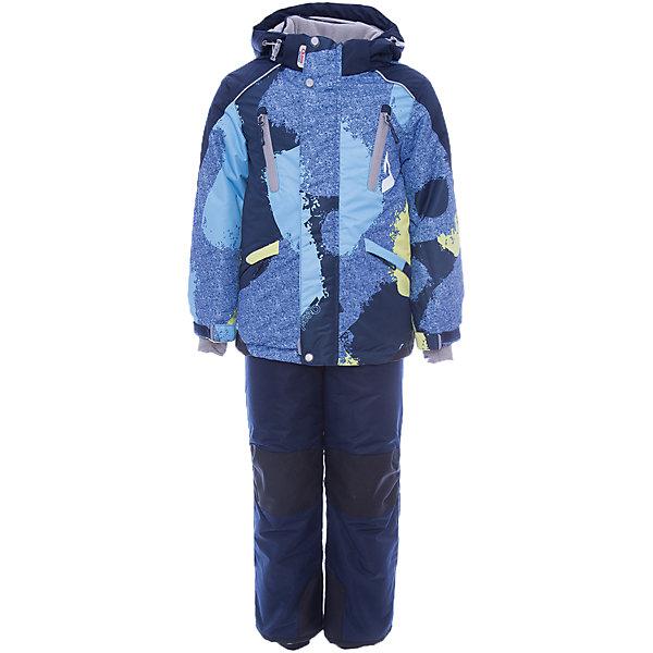 Комплект: куртка и полукомбинезон Вилсон OLDOS для мальчикаВерхняя одежда<br>Характеристики товара:<br><br>• цвет: голубой<br>• комплектация: куртка и полукомбинезон<br>• состав ткани: полиэстер, Teflon<br>• подкладка: флис<br>• утеплитель: Hollofan pro<br>• сезон: зима<br>• мембрана<br>• температурный режим: от -30 до +5<br>• водонепроницаемость: 5000 мм <br>• паропроницаемость: 5000 г/м2<br>• плотность утеплителя: куртка - 200 г/м2, полукомбинезон - 150 г/м2<br>• застежка: молния<br>• капюшон: без меха, съемный<br>• полукомбинезон усилен износостойкими вставками<br>• страна бренда: Россия<br>• страна изготовитель: Россия<br><br>Теплый комплект для ребенка имеет регулируемые детали для удобства ребенка. Зимний детский комплект состоит из теплой куртки и удобного полукомбинезона. Мембранный верх комплекта для девочки создает комфортный для ребенка микроклимат - обеспечивает детскому комплекту водонепроницаемость, при этом одежда дышит. <br><br>Внешнее покрытие TEFLON - защита от воды и грязи, износостойкость, за изделием легко ухаживать. Мембрана 5000/5000 обеспечивает водонепроницаемость, одежда дышит. Гипоаллергенный утеплитель HOLLOFAN PRO  200/150 г/м2 - эффективно удерживает тепло и дарит свободу движения. Подкладка - флис, в рукавах и брючинах – гладкий полиэстер. <br><br>Карманы на молнии, внутренний карман с нашивкой-потеряшкой. Костюм имеет светоотражающие элементы. Изделие прекрасно защитит от ветра и снега, т.к. имеет ряд особенностей. В куртке: съемный капюшон с регулировкой объема, воротник-стойка, ветрозащитные планки, снего-ветрозащитная юбка. <br><br>Манжеты на рукавах регулируются по ширине, есть эластичные манжеты с отверстием для большого пальца. Низ куртки регулируется по ширине. В брюках: широкие эластичные регулируемые подтяжки, карманы, усиления в местах износа, снего-ветрозащитные муфты. Спинку и подтяжки можно отстегнуть.<br><br>Комплект: куртка и полукомбинезон Вилсон Oldos (Олдос) для мальчика можно купить в нашем интернет-магазине.<br>Шир