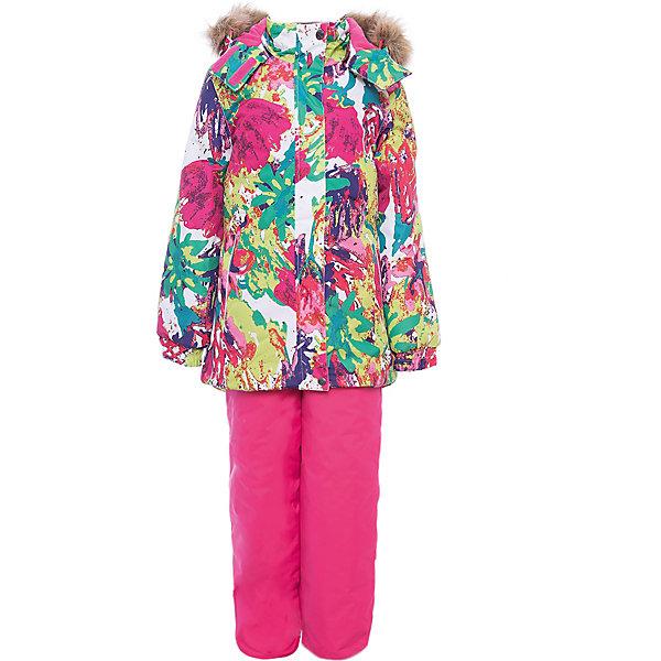 Комплект: куртка и брюки RENELY Huppa для девочкиКомплекты<br>Характеристики товара:<br><br>• модель: Renely;<br>• цвет: ягодный принт / фуксия;<br>• состав: 100% полиэстер;<br>• утеплитель: нового поколения HuppaTherm, 300/160гр;<br>• подкладка: полиэстер: тафта, pritex;<br>• сезон: зима;<br>• температурный режим: от -5 до - 30С;<br>• водонепроницаемость: 10000 мм  ;<br>• воздухопроницаемость: 10000 г/м2/24ч;<br>• влагоустойчивая и дышащая ткань верхнего слоя изделия;<br>• особенности модели: c рисунком; с мехом;<br>• плечевые швы и шаговый шов проклеены водостойкой лентой, для дополнительной защиты от протекания;<br>• мембрана препятствует прохождению воды и ветра сквозь ткань;<br>• в куртке застежка молния, прикрыта планкой;<br>• модель приталенная, сзади встроена резинка в области талии;<br>• воротник стойка и дополнительная липучка на капюшоне хорошо закрывают область шеи;<br>• низ куртки стягивается кулиской, что помогает предотвращать попадание снега внутрь;<br>• в полукомбинезоне застежка молния;<br>• лямки полукомбинезона регулируются при помощи карабинов;<br>• форма брючин прямая, внутри дополнительная штанина на резинке, предотвращает попадание снега внутрь;<br>• низ брюк затягивается на шнурок с фиксатором;<br>• капюшон при необходимости отстегивается;<br>• искусственный мех на капюшоне съемный ;<br>• светоотражающих элементов для безопасности ребенка ;<br>• все карманы застегиваются на молнию;<br>• манжеты рукавов на резинке; <br>• страна бренда: Финляндия;<br>• страна изготовитель: Эстония.<br><br>Зимний комплект Renely для девочки бренда HUPPA  водо воздухонепроницаемый. Утеплитель HuppaTherm - высокотехнологичный легкий синтетический утеплитель нового поколения. Сохраняет объем и высокую теплоизоляцию изделия. Легко стирается и быстро сохнет. Изделия HuppaTherm легкие по весу, комфортные и теплые.<br><br>Мембрана препятствует прохождению воды и ветра сквозь ткань внутрь изделия, позволяя испаряться выделяемой телом, образовывающейся внутри влаге.<br>