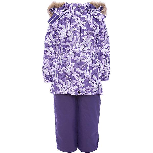 Комплект: куртка и брюки RENELY Huppa для девочкиВерхняя одежда<br>Характеристики товара:<br><br>• модель: Renely;<br>• цвет: сиреневый принт/фиолетовый;<br>• пол: девочка ;<br>• состав: 100% полиэстер;<br>• утеплитель: нового поколения HuppaTherm, 300/160гр;<br>• подкладка: полиэстер: тафта, pritex;<br>• сезон: зима;<br>• температурный режим: от -5 до - 30С;<br>• водонепроницаемость: куртка 5000 мм / полукомбинезон 10000 мм ;<br>• воздухопроницаемость: куртка 5000 / полукомбинезон 10000 г/м2/24 ч;<br>• влагоустойчивая и дышащая ткань верхнего слоя изделия;<br>• особенности модели: c рисунком; с мехом;<br>• плечевые швы и шаговый шов проклеены водостойкой лентой, для дополнительной защиты от протекания;<br>• мембрана препятствует прохождению воды и ветра сквозь ткань;<br>• в куртке застежка молния, прикрыта планкой;<br>• модель приталенная, сзади встроена резинка в области талии;<br>• воротник стойка и дополнительная липучка на капюшоне хорошо закрывают область шеи;<br>• низ куртки стягивается кулиской, что помогает предотвращать попадание снега внутрь;<br>• в полукомбинезоне застежка молния;<br>• лямки полукомбинезона регулируются при помощи карабинов;<br>• форма брючин прямая, внутри дополнительная штанина на резинке, предотвращает попадание снега внутрь;<br>• низ брюк затягивается на шнурок с фиксатором;<br>• капюшон при необходимости отстегивается;<br>• искусственный мех на капюшоне съемный ;<br>• светоотражающих элементов для безопасности ребенка ;<br>• все карманы застегиваются на молнию;<br>• манжеты рукавов на резинке; <br>• страна бренда: Финляндия;<br>• страна изготовитель: Эстония.<br><br>Зимний комплект Renely для девочки бренда HUPPA  водо воздухонепроницаемый. Утеплитель HuppaTherm - высокотехнологичный легкий синтетический утеплитель нового поколения. Сохраняет объем и высокую теплоизоляцию изделия. Легко стирается и быстро сохнет. Изделия HuppaTherm легкие по весу, комфортные и теплые.<br><br>Мембрана препятствует прохождению воды и ветра сквозь ткан