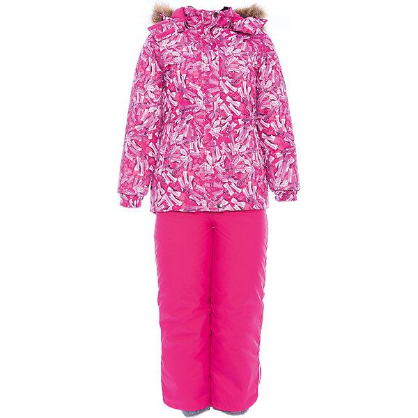 Комплект: куртка и брюки RENELY Huppa для девочкиВерхняя одежда<br>Характеристики товара:<br><br>• модель: Renely;<br>• цвет:фуксия принт/фуксия;<br>• пол: девочка ;<br>• состав: 100% полиэстер;<br>• утеплитель: нового поколения HuppaTherm, 300/160гр;<br>• подкладка: полиэстер: тафта, pritex;<br>• сезон: зима;<br>• температурный режим: от -5 до - 30С;<br>• водонепроницаемость: 5000 мм / 10000 мм ;<br>• воздухопроницаемость: 5000 /  10000 г/м2/24 ч;<br>• влагоустойчивая и дышащая ткань верхнего слоя изделия;<br>• особенности модели: c рисунком; с мехом;<br>• плечевые швы и шаговый шов проклеены водостойкой лентой, для дополнительной защиты от протекания;<br>• мембрана препятствует прохождению воды и ветра сквозь ткань внутрь изделия, позволяя испаряться выделяемой телом, образовывающейся внутри влаге;<br>• в куртке застежка молния, прикрыта планкой;<br>• модель приталенная, сзади встроена резинка в области талии;<br>• воротник стойка и дополнительная липучка на капюшоне хорошо закрывают область шеи;<br>• низ куртки стягивается кулиской, что помогает предотвращать попадание снега внутрь;<br>• в полукомбинезоне застежка молния;<br>• лямки полукомбинезона регулируются при помощи карабинов;<br>• форма брючин прямая, внутри дополнительная штанина на резинке, предотвращает попадание снега внутрь;<br>• низ брюк затягивается на шнурок с фиксатором;<br>• капюшон при необходимости отстегивается;<br>• искусственный мех на капюшоне съемный ;<br>• светоотражающих элементов для безопасности ребенка ;<br>• все карманы застегиваются на молнию;<br>• манжеты рукавов на резинке; <br>• страна бренда: Финляндия;<br>• страна изготовитель: Эстония.<br><br>Зимний комплект Renely для девочки бренда HUPPA  водо воздухонепроницаемый. Утеплитель HuppaTherm - высокотехнологичный легкий синтетический утеплитель нового поколения. Сохраняет объем и высокую теплоизоляцию изделия. <br><br>Мембрана препятствует прохождению воды и ветра сквозь ткань внутрь изделия, позволяя испаряться выделяемой телом,