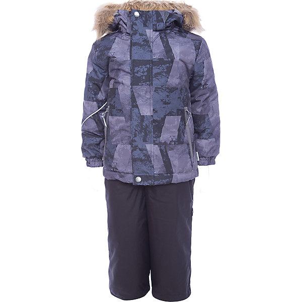 Комплект: куртка и брюки DANTE 1 Huppa для мальчикаКомплекты<br>Характеристики товара:<br><br>• модель: Dante 1;<br>• цвет: черно-фиолетовый принт/черный;<br>• состав: 100% полиэстер;<br>• утеплитель: нового поколения HuppaTherm, 300 гр куртка / 160гр полукомбинезон;<br>• подкладка: полиэстер: тафта, pritex;<br>• сезон: зима;<br>• температурный режим: от -5 до - 30С;<br>• водонепроницаемость: 10000 мм  ;<br>• воздухопроницаемость: 10000 г/м2/24ч;<br>• особенности модели: c рисунком; с мехом на капюшоне;<br>• плечевые швы и шаговый шов проклеены и не пропускают влагу;<br>• в куртке застежка молния, прикрыта планкой;<br>• низ куртки стягивается кулиской, что помогает предотвращать попадание снега внутрь;<br>• в полукомбинезоне застежка молния;<br>• эластичные подтяжки регулируются по длине;<br>• низ брюк затягивается на шнурок с фиксатором;<br>• снегозащитные манжеты на штанинах<br>• безопасный капюшон крепится на кнопки и, при необходимости, отстегивается;<br>• искусственный мех на капюшоне съемный;<br>• светоотражающие элементы для безопасности ребенка ;<br>• внутренний и боковые карманы застегиваются на молнию;<br>• манжеты рукавов эластичные, на резинках; <br>• страна бренда: Финляндия;<br>• страна изготовитель: Эстония.<br><br>Зимний комплект Dante 1 - это отличный вариант для холодной зимы.. Утеплитель HuppaTherm - высокотехнологичный легкий синтетический утеплитель нового поколения. Сохраняет объем и высокую теплоизоляцию изделия. Легко стирается и быстро сохнет. Изделия HuppaTherm легкие по весу, комфортные и теплые.<br><br>Мембрана препятствует прохождению воды и ветра сквозь ткань внутрь изделия, позволяя испаряться выделяемой телом, образовывающейся внутри влаге. Прочная ткань: сплетения волокон в тканях выполнены по специальной технологии, которая придаёт ткани прочность и предохранят от истирания.Подкладка —полиэстер: тафта, pritex.<br><br>Функциональные элементы: Куртка: капюшон и мех отстегивается,  застежка молния, прикрыта планкой, манжеты на резинке,