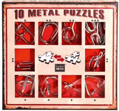 Набор из 10 металлических головоломок (красный), Эврика, артикул:7025988 - Головоломки