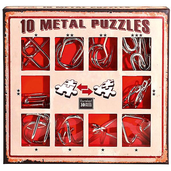 Фотография товара набор из 10 металлических головоломок (красный), Эврика (7025988)