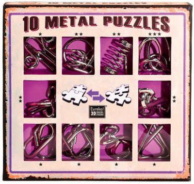 Набор из 10 металлических головоломок (фиолетовый), Эврика, артикул:7025989 - Головоломки