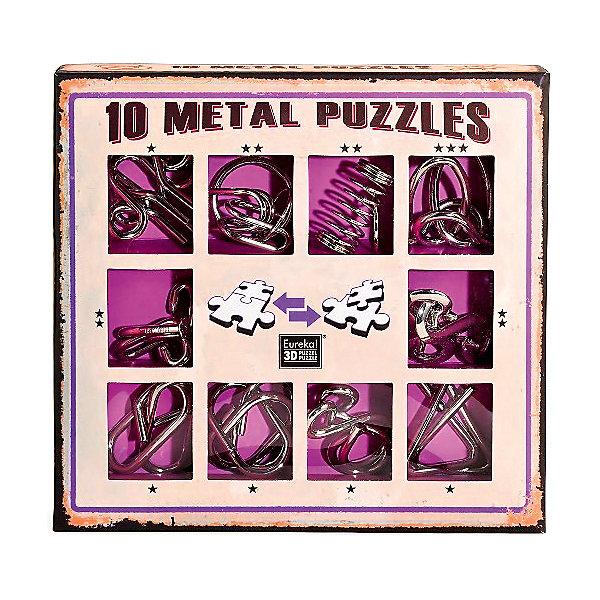 Набор из 10 металлических головоломок (фиолетовый), ЭврикаКлассические головоломки<br>Характеристики:<br><br>• возраст: от 5 лет;<br>• уровень сложности: 1,2,3;<br>• материал: металл;<br>• размер упаковки: 18х17х3 см;<br>• вес: 245 г;<br>• тип упаковки: коробка с окошками.<br><br>В комплект входит 10 головоломок разной сложности: одна головоломка 3 уровня сложности, четыре головоломки 2 уровня, пять головоломок 1 уровня.<br><br>Набор головоломок поможет познакомить детей с загадочным миром логических  игр и лабиринтов. Цель игры – освободить или разделить детали, а затем вернуть их обратно.<br><br>Головоломка - это прекрасный инструмент для ума, вырабатывающий неординарное видение. Увлекательное занятие для детей и взрослых разнообразит досуг. Развивающие занятия стимулируют логику, пространственное мышление и тренируют мелкую моторику.<br><br>Набор из 10 металлических головоломок (фиолетовый) «Эврика», Eureka можно приобрести в нашем интернет-магазине.<br>Ширина мм: 30; Глубина мм: 165; Высота мм: 175; Вес г: 280; Возраст от месяцев: 36; Возраст до месяцев: 2147483647; Пол: Унисекс; Возраст: Детский; SKU: 7025989;