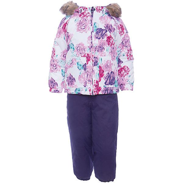 Комплект: куртка и брюки AVERY Huppa для девочкиКомплекты<br>Характеристика товара:<br><br>• цвет: белый фиолетовый<br>• температурный режим: от -0 до-30;<br>• утеплитель: куртка:300 грамм, брюки:160 грамм(100% полиэстер);<br>• подкладка: 100% хлопок;<br>• воздухопроницаемость: 5 000 мм куртка / 10 000 мм брюки;<br>• водонепроницаемость:  5 000 мм куртка / 10 000 мм брюки;<br>• застежка: молния;<br>• меховая опушка из искуственного меха;<br>• шаговый шов – проклеен;<br>• капюшон съемный;<br>• подтяжки на полукомбинезоне – резинки;<br>• светоотражающие детали;<br>• производитель: HUPPA (Эстония)<br><br>Красивый зимний комплект AVERY для детей младшего возраста. Легкая, но очень теплая куртка из мягкой мембранной ткани не содержит лишних деталей. В модели 300 грамм утеплителя, а значит, вы можете быть уверены, что ваш малыш не замерзнет на прогулке в морозную погоду, даже если будет двигаться не слишком активно. Комплект для малышей AVERY благодаря простым манжетам на резинке и удобной молнии легко надевать и застегивать. Капюшон с меховой опушкой сделан в форме забавного колпачка и при желании отстегивается. <br><br>Практичный однотонный полукомбинезон темного цвета выполнен из более прочной мембраны и скроен без внутренних швов, для лучшей защиты от истирания и попадания влаги. Задний шов проклеен, также для дополнительной защиты от влаги. Манжеты по низу брюк и тканевые штрипки на ботинки надежно фиксируют брюки и защищают от попадания снега. На костюмах AVERY светоотражающие элементы делают вашего ребенка более заметным на улице, даже в условиях плохой видимости и в темное время суток.<br><br>Комплект для малышей AVERY можно купить в нашем интернет-магазине.<br>Ширина мм: 356; Глубина мм: 10; Высота мм: 245; Вес г: 519; Цвет: белый; Возраст от месяцев: 12; Возраст до месяцев: 15; Пол: Женский; Возраст: Детский; Размер: 80,104,98,92,86; SKU: 7026952;
