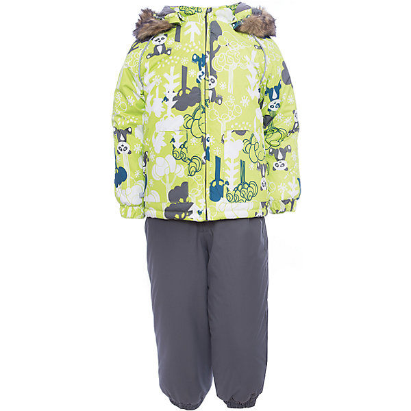 Комплект: куртка и брюки AVERY Huppa для мальчикаКомплекты<br>Характеристика товара:<br><br>• цвет: серый с принтом<br>• температурный режим: от -0 до-30;<br>• утеплитель: куртка:300 грамм, брюки:160 грамм(100% полиэстер);<br>• подкладка: 100% хлопок;<br>• воздухопроницаемость: 5 000 мм куртка / 10 000 мм брюки;<br>• водонепроницаемость:  5 000 мм куртка / 10 000 мм брюки;<br>• застежка: молния;<br>• меховая опушка из искуственного меха;<br>• шаговый шов – проклеен;<br>• капюшон съемный;<br>• подтяжки на полукомбинезоне – резинки;<br>• светоотражающие детали;<br>• производитель: HUPPA (Эстония)<br><br>Красивый зимний комплект AVERY для детей младшего возраста. Легкая, но очень теплая куртка из мягкой мембранной ткани не содержит лишних деталей. В модели 300 грамм утеплителя, а значит, вы можете быть уверены, что ваш малыш не замерзнет на прогулке в морозную погоду, даже если будет двигаться не слишком активно. Комплект для малышей AVERY благодаря простым манжетам на резинке и удобной молнии легко надевать и застегивать. Капюшон с меховой опушкой сделан в форме забавного колпачка и при желании отстегивается. <br><br>Практичный однотонный полукомбинезон темного цвета выполнен из более прочной мембраны и скроен без внутренних швов, для лучшей защиты от истирания и попадания влаги. Задний шов проклеен, также для дополнительной защиты от влаги. Манжеты по низу брюк и тканевые штрипки на ботинки надежно фиксируют брюки и защищают от попадания снега. На костюмах AVERY светоотражающие элементы делают вашего ребенка более заметным на улице, даже в условиях плохой видимости и в темное время суток.<br><br>Комплект для малышей AVERY можно купить в нашем интернет-магазине.<br>Ширина мм: 356; Глубина мм: 10; Высота мм: 245; Вес г: 519; Цвет: зеленый; Возраст от месяцев: 12; Возраст до месяцев: 15; Пол: Мужской; Возраст: Детский; Размер: 80,98,92,86,104; SKU: 7027024;