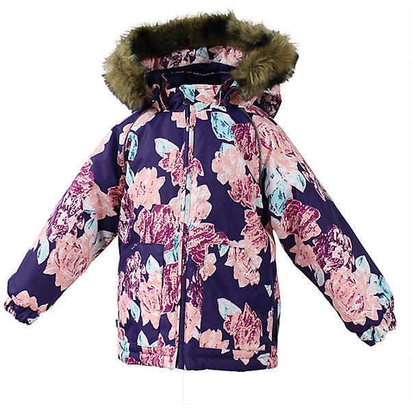 Куртка VIRGO Huppa для девочкиЗимние куртки<br>Характеристики товара:<br><br>• цвет: фиолетовый;<br>• пол: девочка;<br>• состав: 100% полиэстер;<br>• утеплитель: полиэстер 300 гр.;<br>• подкладка: фланель 100% хлопок;<br>• сезон: зима;<br>• температурный режим: от -5 до - 30С;<br>• водонепроницаемость: 10000 мм ;<br>• воздухопроницаемость:10000 г/м2/24ч;<br>• особенности модели: c рисунком; с мехом на капюшоне;<br>• манжеты рукавов эластичные, на резинках;<br>• безопасный капюшон крепится на кнопки и, при необходимости, отстегивается;<br>• мех на капюшоне не съемный;<br>• светоотражающие элементы для безопасности ребенка;<br>• страна бренда: Финляндия;<br>• страна изготовитель: Эстония.<br><br>Зимняя куртка с капюшоном для девочки. Все швы проклеены и водонепроницаемы, а сама она изготовлена из водо и ветронепроницаемого, грязеотталкивающего материала.<br><br>Съемный капюшон защищает от ветра, к тому же он абсолютно безопасен – легко отстегнется, если вдруг за что-нибудь зацепится. Обратите внимание: куртку можно сушить в сушильной машине. Зимняя куртка на молнии для девочки декорирована рисунком.<br><br>Зимнюю куртку Virgo для девочки фирмы HUPPA  можно купить в нашем интернет-магазине.