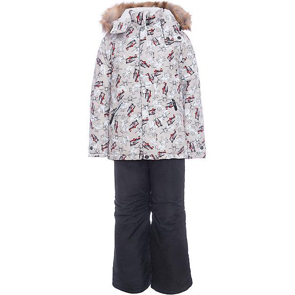 Комплект: куртка и полукомбенизон Дасти 2 Batik для мальчикаВерхняя одежда<br>Характеристики товара:<br><br>• цвет: бежевый<br>• комплектация: куртка и полукомбинезон<br>• состав ткани: таслан<br>• подкладка: поларфлис<br>• утеплитель: термофин<br>• сезон: зима<br>• мембранное покрытие<br>• температурный режим: от -35 до 0<br>• водонепроницаемость: 5000 мм<br>• паропроницаемость: 5000 г/м2<br>• плотность утеплителя: куртка - 350 г/м2, полукомбинезон - 200 г/м2<br>• застежка: молния<br>• капюшон: с мехом, отстегивается<br>• встроенный термодатчик<br>• страна бренда: Россия<br>• страна изготовитель: Россия<br>Параметры изделия:<br>Куртка:<br>• Длина внутреннего шва рукава: 38 см<br>• Длина внешнего шва рукава: 50 см<br>• Длина спинки : 57 см<br>• Ширина от плеча до плеча: 36 см<br>• Ширина спинки от подмышки до подмышки: 44 см<br>Брюки:<br>• Длина внутреннего шва брюк: 55 см<br>• Длина внешнего шва брюк: 78 см<br>• Объем талии: 60 см<br>• Ширина брючины внизу: 21 см<br><br>Зимний мембранный комплект для мальчика легко чистится и долго служит. Детский комплект сделан легкого, но теплого материала. Зимний комплект для ребенка отличается стильным дизайном. Непромокаемый и непродуваемый верх детской зимней куртки и полукомбинезона обеспечит тепло и комфорт ребенку.<br><br>Комплект: куртка и полукомбинезон Дасти 2 Batik (Батик) для мальчика можно купить в нашем интернет-магазине.
