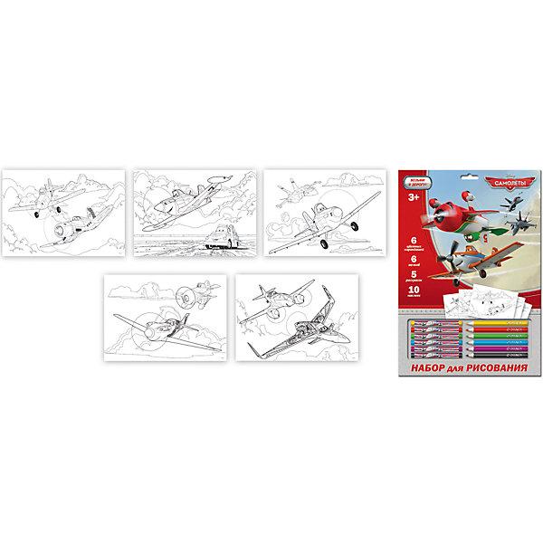 Набор для рисования Disney Самолеты  с мелками и карандашамиНаборы для рисования<br>Характеристики товара:<br><br>• в комплекте: 6 карандашей, 6 восковых мелков, 5 раскрасок А4, 10 наклеек, картонный блистер А4;<br>• возраст: от 3 лет;<br>• размер упаковки: 33х1,5х23 см;<br>• вес: 130 грамм;<br>• страна бренда: США;<br>• страна производитель: Китай.<br><br>Набор для рисования станет отличным подарком поклонникам Самолетов. В комплект входят 5 раскрасок, 6 карандашей, 6 восковых мелков и 10 наклеек. Ребенок с удовольствием оживит раскраски, а затем дополнит их яркими наклейками. Компактная форма позволяет брать набор в дорогу.<br><br>Набор для рисования Disney (Дисней) Самолеты с мелками и карандашами можно купить в нашем интернет-магазине.<br>Ширина мм: 230; Глубина мм: 15; Высота мм: 330; Вес г: 131; Возраст от месяцев: 72; Возраст до месяцев: 108; Пол: Мужской; Возраст: Детский; SKU: 7029902;