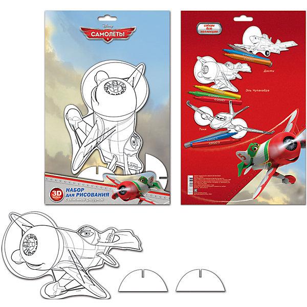 Набор для рисования с фигуркой и фломастерами Disney СамолетыНаборы для рисования<br>Характеристики товара:<br><br>• в комплекте: модель самолета из картона А5, 3 фломастера, подставка;<br>• возраст: от 3 лет;<br>• размер упаковки: 31х2,5х20 см;<br>• вес: 160 грамм.<br><br>Увлекательный набор для рисования не даст ребенку заскучать. В набор входит модель самолета из мультсериала Самолеты, подставка для модели и три фломастера. Ребенок сможет раскрасить любимого героя, установить его на подставку, чтобы украсить комнату. Такая игра поможет развить мелкую моторику, художественный вкус, фантазию и цветовое восприятие.<br><br>Набор для рисования с фигуркой и фломастерами Disney (Дисней) Самолеты можно купить в нашем интернет-магазине.<br>Ширина мм: 200; Глубина мм: 25; Высота мм: 310; Вес г: 125; Возраст от месяцев: 72; Возраст до месяцев: 108; Пол: Мужской; Возраст: Детский; SKU: 7029904;