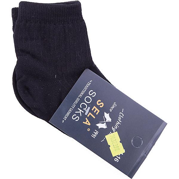 Носки SELA для мальчикаНоски<br>Характеристики товара:<br><br>• цвет: черный<br>• состав ткани: 75% хлопок, 20% нейлон, 5% эластан<br>• сезон: круглый год<br>• страна бренда: Россия<br>• страна изготовитель: Китай<br><br>Черные детские носки от Sela не давят на ногу благодаря мягкой резинке. Удобные носки для мальчика помогут обеспечить ребенку комфорт. Носки для ребенка сделаны из эластичного материала, который состоит преимущественно из дышащего натурального хлопка. <br><br>Носки Sela (Села) для мальчика можно купить в нашем интернет- магазине.<br>Ширина мм: 87; Глубина мм: 10; Высота мм: 105; Вес г: 115; Цвет: черный; Возраст от месяцев: 0; Возраст до месяцев: 3; Пол: Мужской; Возраст: Детский; Размер: 14,20-22,18-20,16-18; SKU: 7032397;