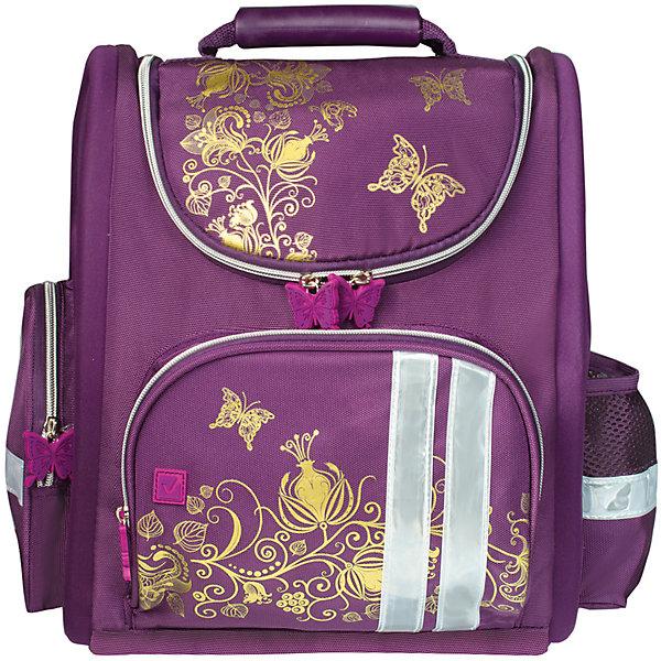 Ранец жесткокаркасный BRAUBERG для начальной школы, девочка, Цветы, 16 литров, 28*14*32 смРанцы<br>Ранец Золотые цветы предназначен для девочек 7-10 лет. Он выполнен в благородных фиолетовых тонах, украшен золотым узором переплетенных цветов и бабочками.<br>Ширина мм: 285; Глубина мм: 385; Высота мм: 135; Вес г: 900; Возраст от месяцев: 72; Возраст до месяцев: 216; Пол: Женский; Возраст: Детский; SKU: 7036859;