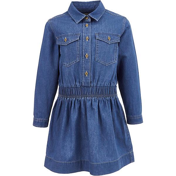 Джинсовое платье Button Blue для девочкиПлатья и сарафаны<br>Характеристики товара:<br><br>• цвет: синий;<br>• состав: 98% хлопок, 2% эластан;<br>• сезон: демисезон;<br>• особенности: джинсовое, с рисунком;<br>• платье с длинным рукавом;<br>• утяжка по линии талии;<br>• застежка: пуговицы до линии талии;<br>• манжеты рукавов на пуговице;<br>• два накладных кармана на пуговице;<br>• страна бренда: Россия;<br>• страна изготовитель: Китай.<br><br>Джинсовое платье с длинным рукавом для девочки. Платье застегивается на пуговицы от линии талии, манжеты рукавов на одной пуговице. Утяжка по линии талии, приталенный силуэт. Платье с двумя накладными карманами, которые застегиваются на пуговицу.<br><br>Платье Button Blue (Баттон Блю) можно купить в нашем интернет-магазине.<br>Ширина мм: 236; Глубина мм: 16; Высота мм: 184; Вес г: 177; Цвет: голубой; Возраст от месяцев: 36; Возраст до месяцев: 48; Пол: Женский; Возраст: Детский; Размер: 104,134,128,122,116,110,98,158,152,146,140; SKU: 7037689;
